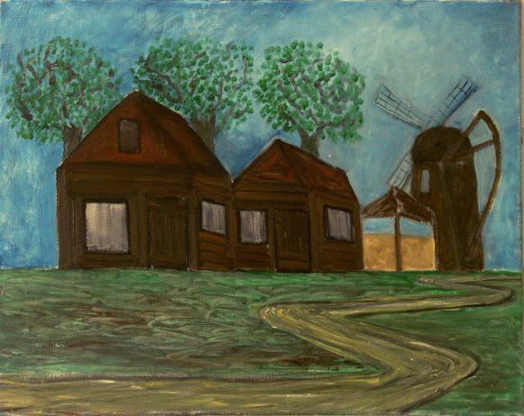 Landschap met molen. Olieverf op doek. 75 x 90 cm.