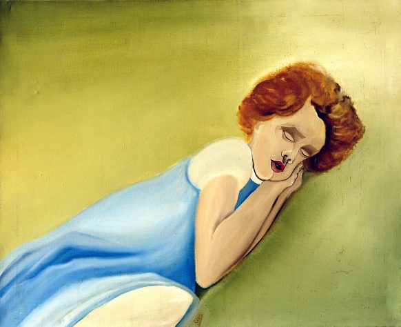 Portret van Slapende Kind (Sarah). 1982. Olieverf op doek. 70 x 85 cm.