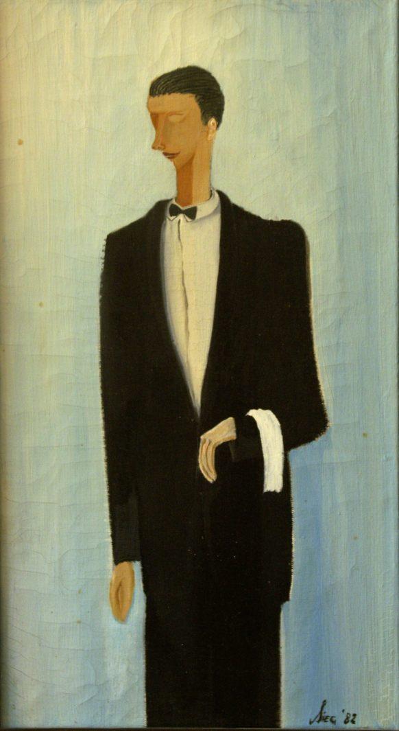 De Ober. 1982. Olieverf op doek. 45 x 25 cm.