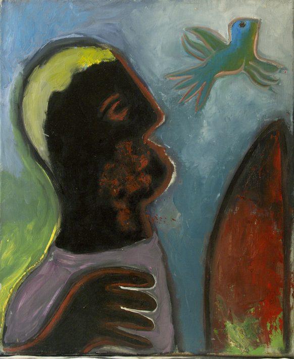Man met Vogel. Olieverf op doek. 50 x 60 cm.