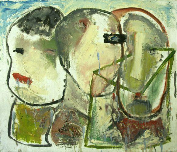 Drie Gezichten. Olieverf op doek. 60 x 70 cm.