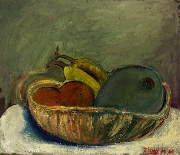 Stilleven met Fruitschaal. Olieverf op doek. 60 x 70 cm.