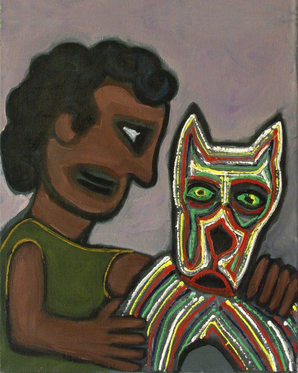 Mens en Dier. 1994. Olieverf op doek. 50 x 60 cm.