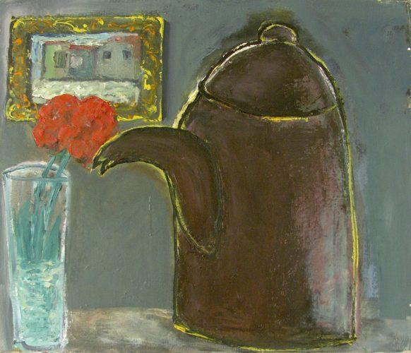 Stilleven met Pot en Bloem. 1998. Olieverf op doek. 70 x 60 cm.