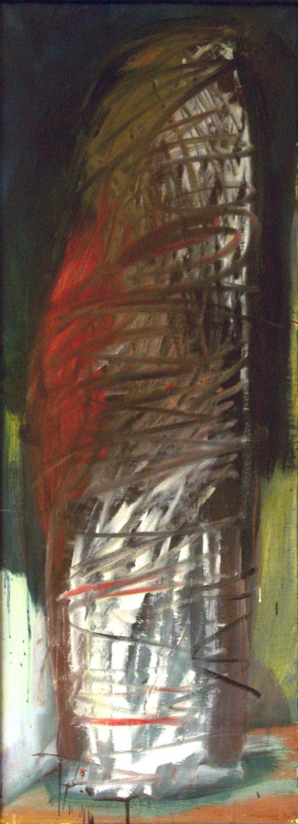 Zijn (Bewegingserie). 1984. Olieverf op doek. 52 x 121 cm.