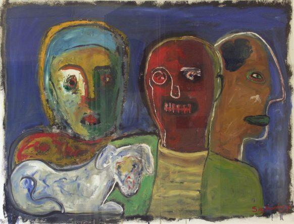 Drie Mensen en Hond. 1996. Olieverf op doek. 118 x 155 cm.