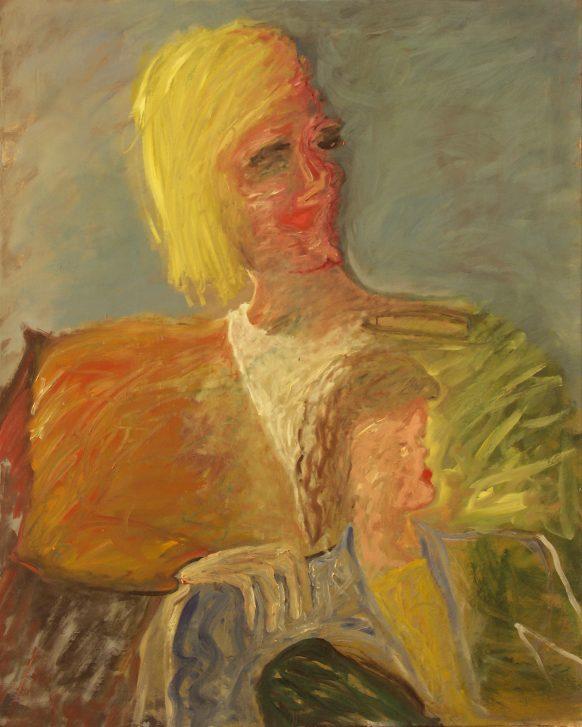 Moeder en Kind (Blond). 10 december 1984. Olieverf op doek. 100 x 125 cm.