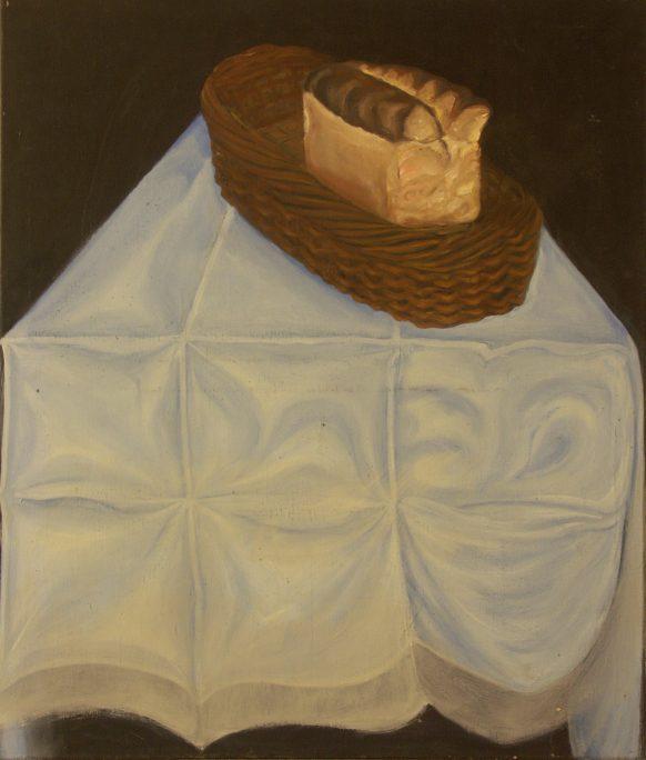 Brood en mand. Olieverf op doek. 85 x 100 cm.