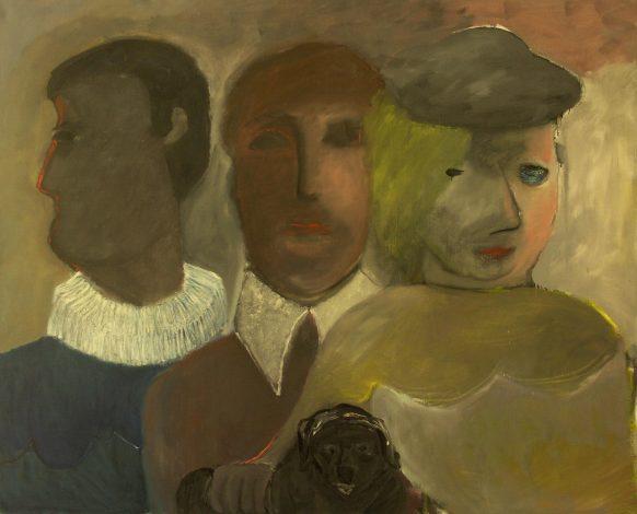 Drie gezichten en een hond. Olieverf op doek. 150 x 125 cm.