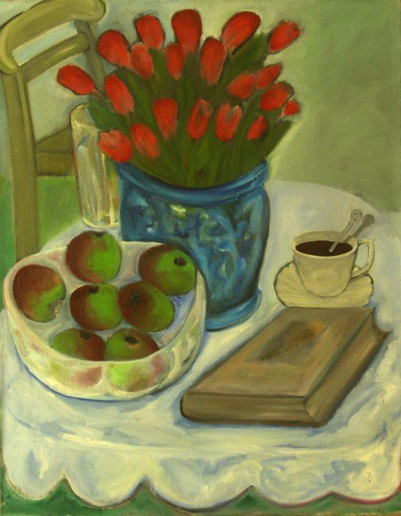 Stilleven met Bloemen. 1989. Olieverf op doek. 75 x 95 cm.
