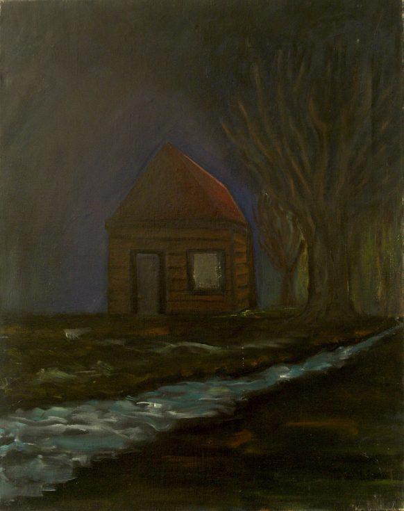 Nacht op het Land. 1989. Olieverf op doek. 75 x 95 cm.