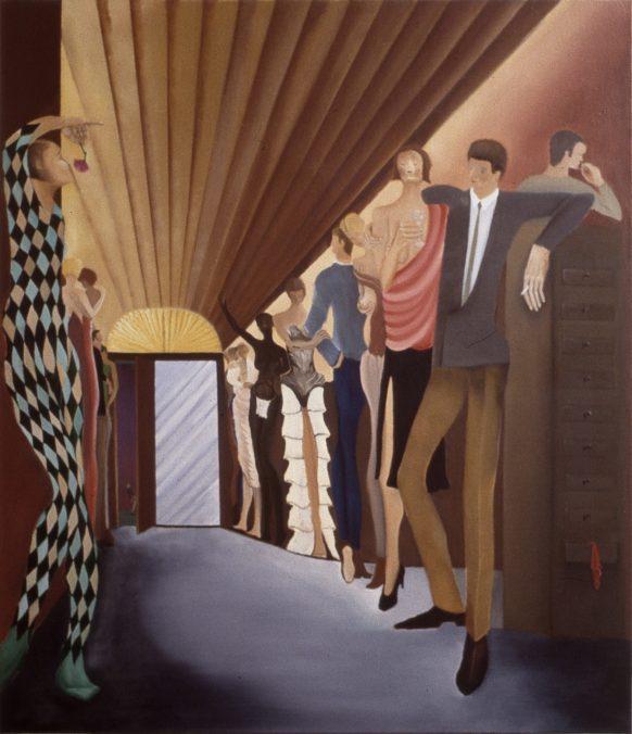 Nacht scène. 1977. Olieverf op doek. 110 x 95 cm.