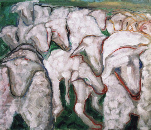 Schapen. 1995. Olieverf op doek. 120 x 100 cm.